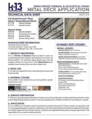 K-13 Metal Deck Technical Data Sheet
