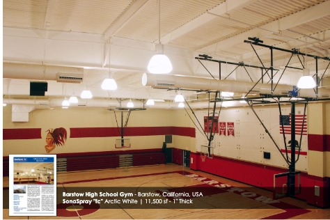 "Arctic White SonaSpray ""fc"" on the ceiling in Barstow High School Gym"