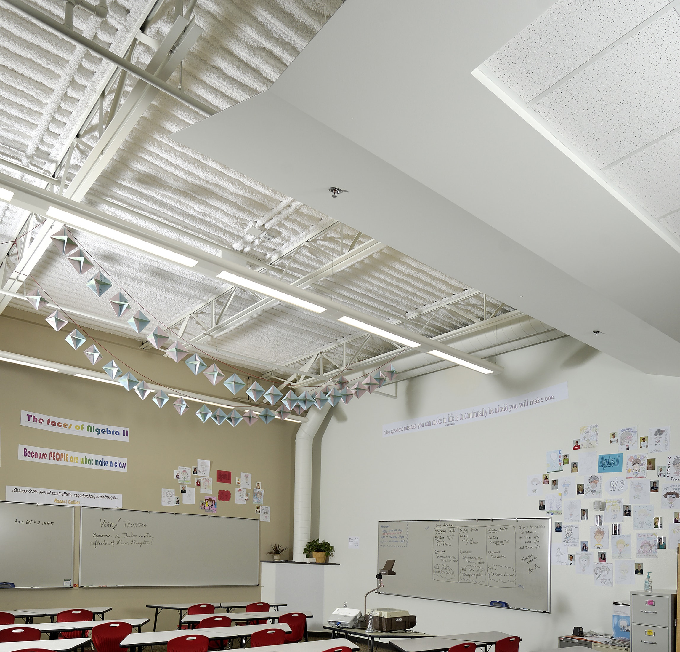 "Arctic White SonaSpray ""fc"" on the ceiling in Glenwood Springs High School"