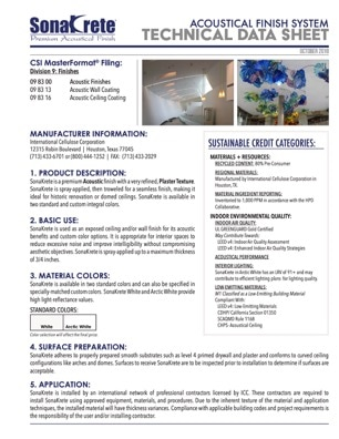 SonaKrete Technical Data Sheet