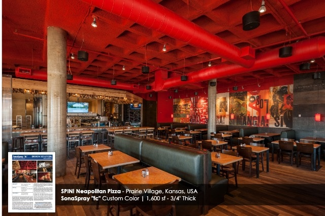 "Custom Color Red SonaSpray ""fc"" on the ceiling in Spin Neapolitan Pizza restaurant"