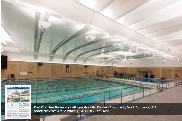 "Arctic White SonaSpray ""fc"" on the ceiling in East Carolina University Minges Aquatic Center"